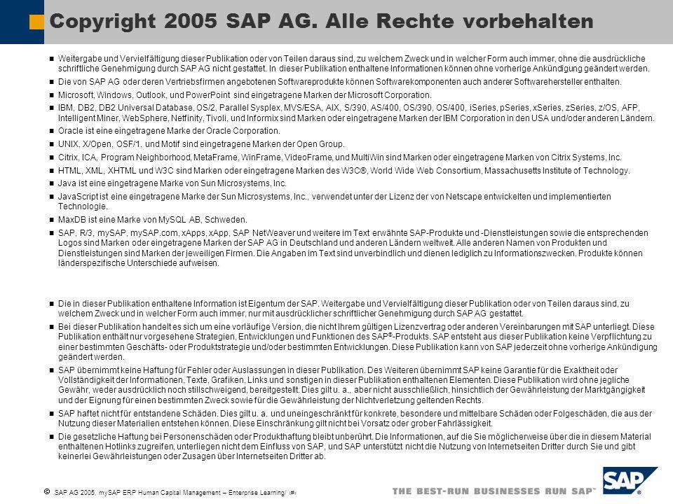  SAP AG 2005, mySAP ERP Human Capital Management – Enterprise Learning/ 22 Weitergabe und Vervielfältigung dieser Publikation oder von Teilen daraus