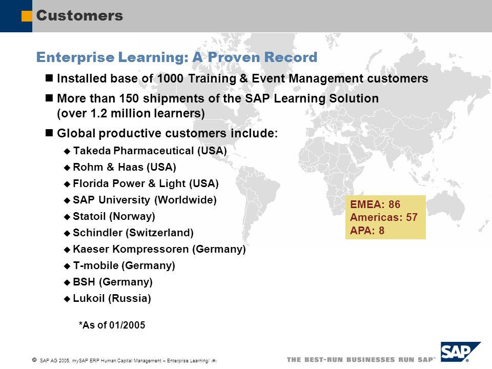  SAP AG 2005, mySAP ERP Human Capital Management – Enterprise Learning/ 7 Customers Enterprise Learning: A Proven Record Installed base of 1000 Train