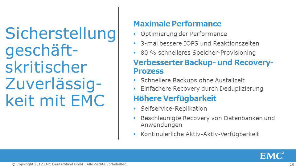 10 © Copyright 2012 EMC Deutschland GmbH. Alle Rechte vorbehalten. Sicherstellung geschäft- skritischer Zuverlässig- keit mit EMC Maximale Performance