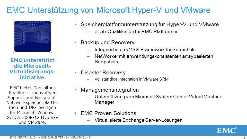 6 EMC VERTRAULICH – NUR ZUR INTERNEN VERWENDUNG EMC Unterstützung von Microsoft Hyper-V und VMware Speicherplattformunterstützung für Hyper-V und VMwa