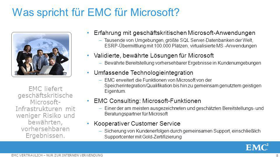 8 EMC VERTRAULICH – NUR ZUR INTERNEN VERWENDUNG Was spricht für EMC für Microsoft? Erfahrung mit geschäftskritischen Microsoft-Anwendungen –Tausende v