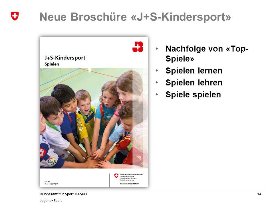 14 Bundesamt für Sport BASPO Jugend+Sport Neue Broschüre «J+S-Kindersport» Nachfolge von «Top- Spiele» Spielen lernen Spielen lehren Spiele spielen