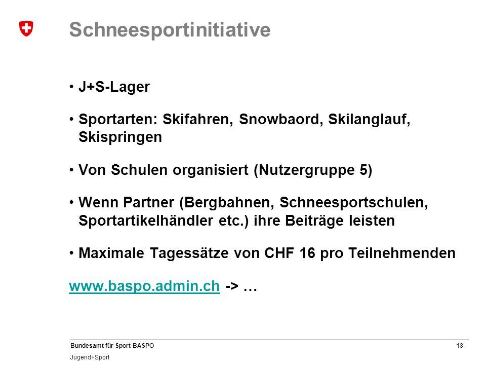 18 Bundesamt für Sport BASPO Jugend+Sport Schneesportinitiative J+S-Lager Sportarten: Skifahren, Snowbaord, Skilanglauf, Skispringen Von Schulen organisiert (Nutzergruppe 5) Wenn Partner (Bergbahnen, Schneesportschulen, Sportartikelhändler etc.) ihre Beiträge leisten Maximale Tagessätze von CHF 16 pro Teilnehmenden www.baspo.admin.chwww.baspo.admin.ch -> …