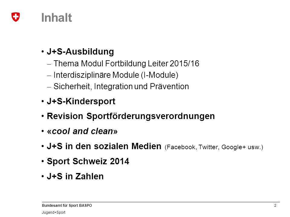 2 Bundesamt für Sport BASPO Jugend+Sport Inhalt J+S-Ausbildung  Thema Modul Fortbildung Leiter 2015/16  Interdisziplinäre Module (I-Module)  Sicher