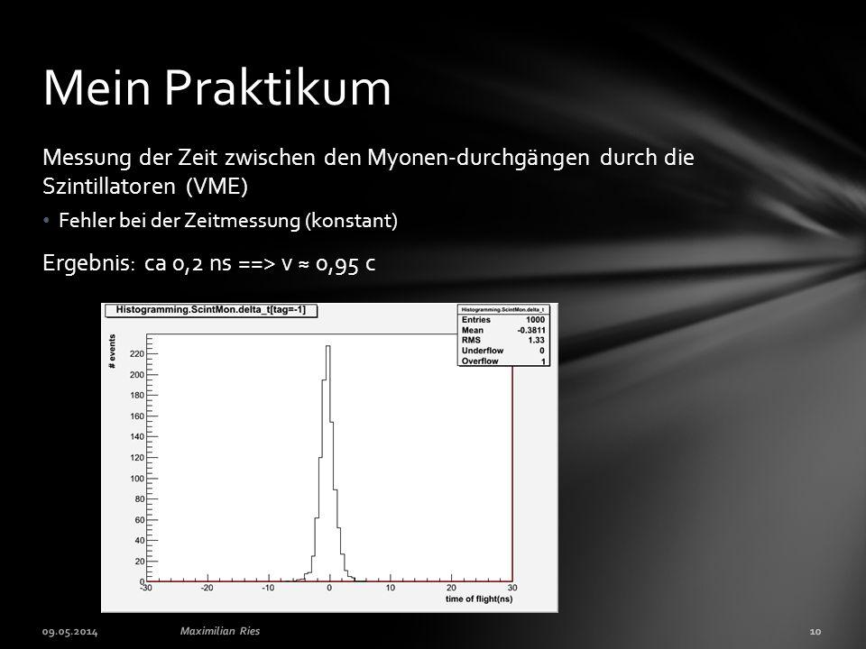Messung der Zeit zwischen den Myonen-durchgängen durch die Szintillatoren (VME) Fehler bei der Zeitmessung (konstant) Ergebnis: ca 0,2 ns ==> v ≈ 0,95 c Mein Praktikum 09.05.2014Maximilian Ries10