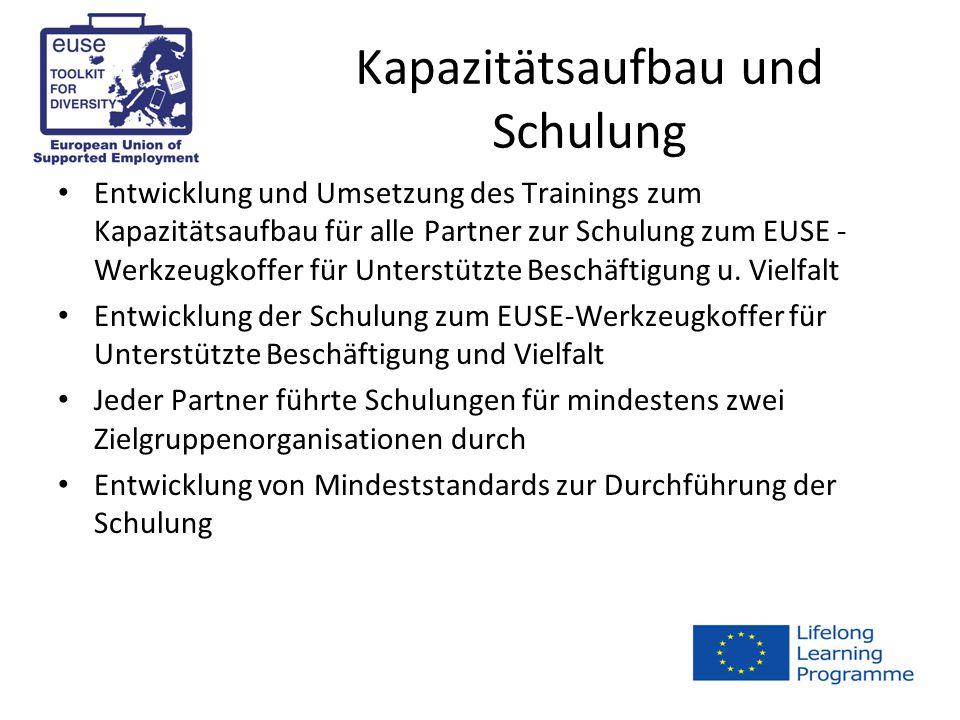 Kapazitätsaufbau und Schulung Entwicklung und Umsetzung des Trainings zum Kapazitätsaufbau für alle Partner zur Schulung zum EUSE - Werkzeugkoffer für Unterstützte Beschäftigung u.