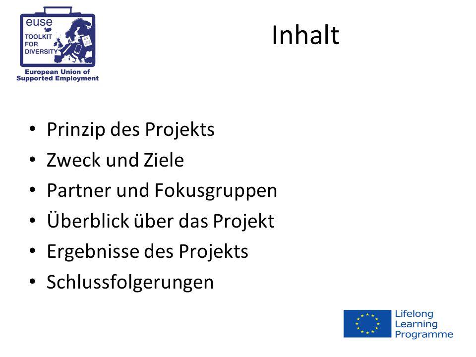 Inhalt Prinzip des Projekts Zweck und Ziele Partner und Fokusgruppen Überblick über das Projekt Ergebnisse des Projekts Schlussfolgerungen