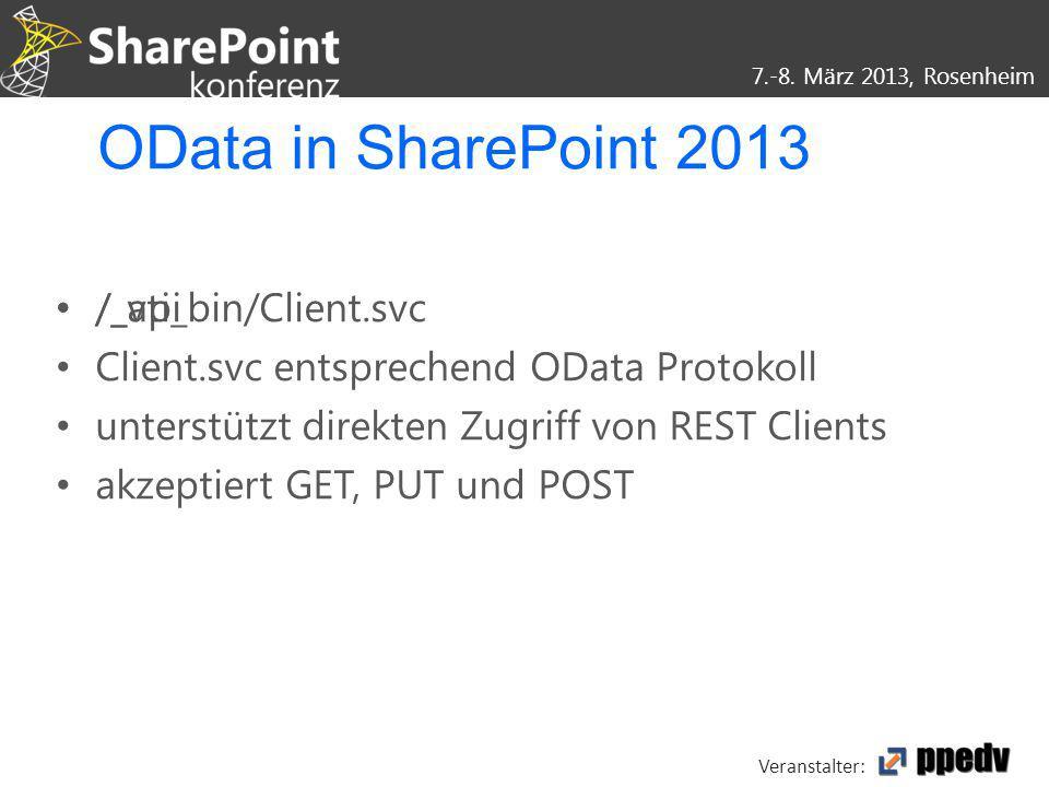 7.-8. März 2013, Rosenheim Veranstalter: /_vti_bin/Client.svc Client.svc entsprechend OData Protokoll unterstützt direkten Zugriff von REST Clients ak
