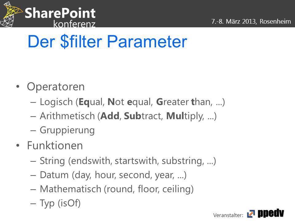 7.-8. März 2013, Rosenheim Veranstalter: Der $filter Parameter Operatoren – Logisch (Equal, Not equal, Greater than,...) – Arithmetisch (Add, Subtract