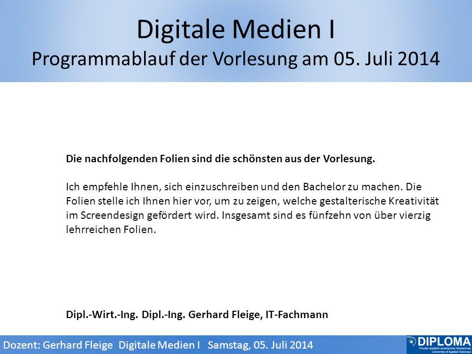 Digitale Medien I Programmablauf der Vorlesung am 05.