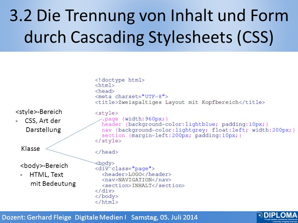 <style>-Bereich -C-CSS, Art der Darstellung 3.2 Die Trennung von Inhalt und Form durch Cascading Stylesheets (CSS) Klasse <body>-Bereich -H-HTML, Text mit Bedeutung