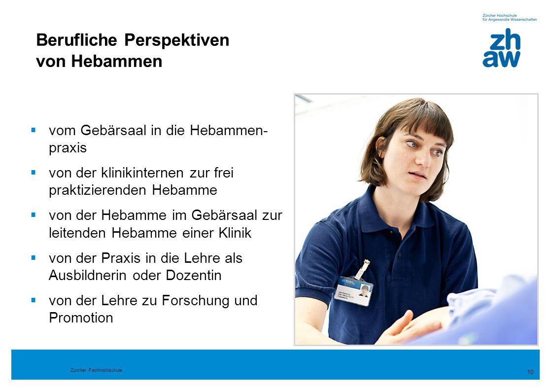 Zürcher Fachhochschule 10  vom Gebärsaal in die Hebammen- praxis  von der klinikinternen zur frei praktizierenden Hebamme  von der Hebamme im Gebär