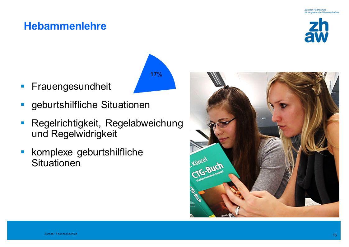 Zürcher Fachhochschule 16 Hebammenlehre  Frauengesundheit  geburtshilfliche Situationen  Regelrichtigkeit, Regelabweichung und Regelwidrigkeit  ko
