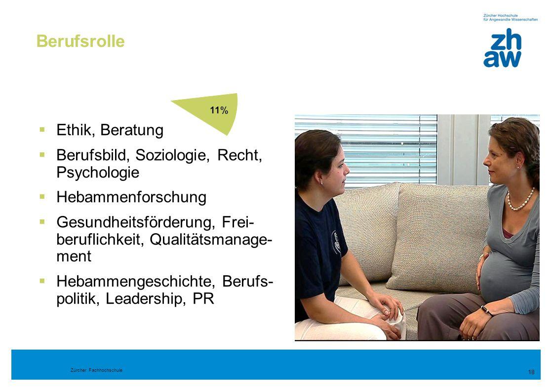 Zürcher Fachhochschule Berufsrolle 18  Ethik, Beratung  Berufsbild, Soziologie, Recht, Psychologie  Hebammenforschung  Gesundheitsförderung, Frei-