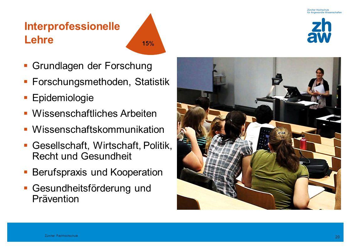 Zürcher Fachhochschule Interprofessionelle Lehre  Grundlagen der Forschung  Forschungsmethoden, Statistik  Epidemiologie  Wissenschaftliches Arbei