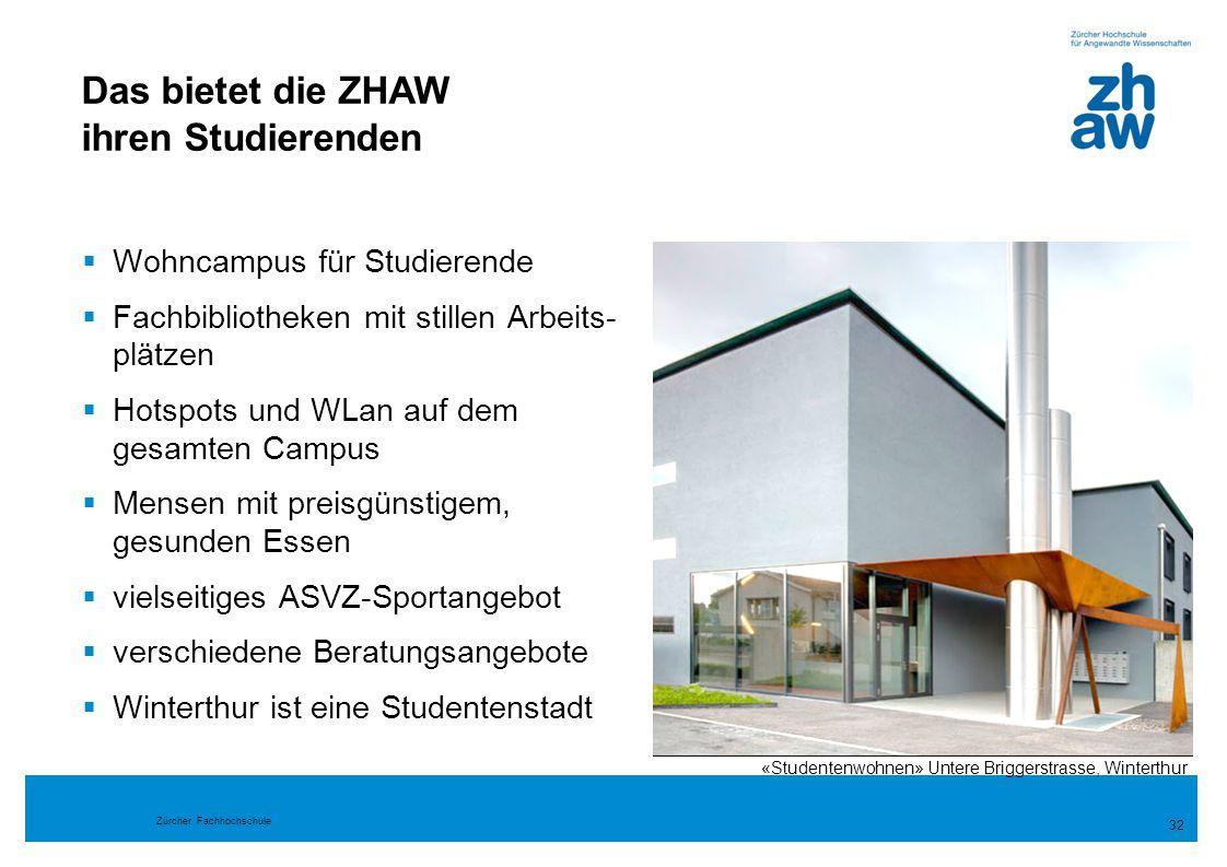 Zürcher Fachhochschule  Wohncampus für Studierende  Fachbibliotheken mit stillen Arbeits- plätzen  Hotspots und WLan auf dem gesamten Campus  Mens