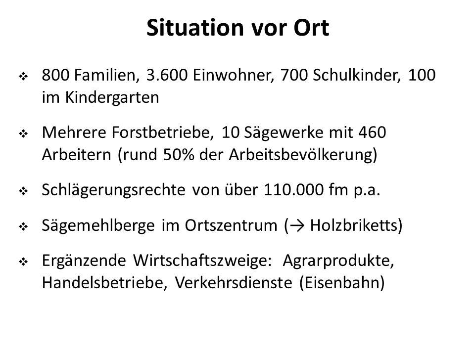 Situation vor Ort  800 Familien, 3.600 Einwohner, 700 Schulkinder, 100 im Kindergarten  Mehrere Forstbetriebe, 10 Sägewerke mit 460 Arbeitern (rund 50% der Arbeitsbevölkerung)  Schlägerungsrechte von über 110.000 fm p.a.