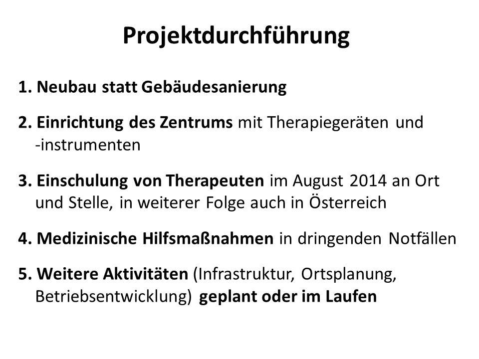 Projektdurchführung 1. Neubau statt Gebäudesanierung 2. Einrichtung des Zentrums mit Therapiegeräten und -instrumenten 3. Einschulung von Therapeuten