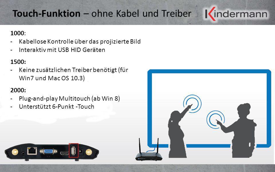 Touch-Funktion – ohne Kabel und Treiber 1000: -Kabellose Kontrolle über das projizierte Bild -Interaktiv mit USB HID Geräten 1500: -Keine zusätzlichen