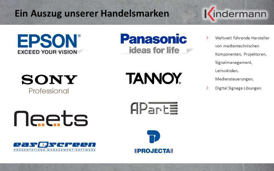 Ein Auszug unserer Handelsmarken Weltweit führende Hersteller von medientechnischen Komponenten, Projektoren, Signalmanagement, Leinwänden, Mediensteu