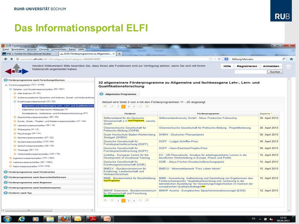 14 Das Informationsportal ELFI Dr. Gunter Friedrich, Dezernat 1, Abteilung Forschung und wissenschaftlicher Nachwuchs 10.04.13