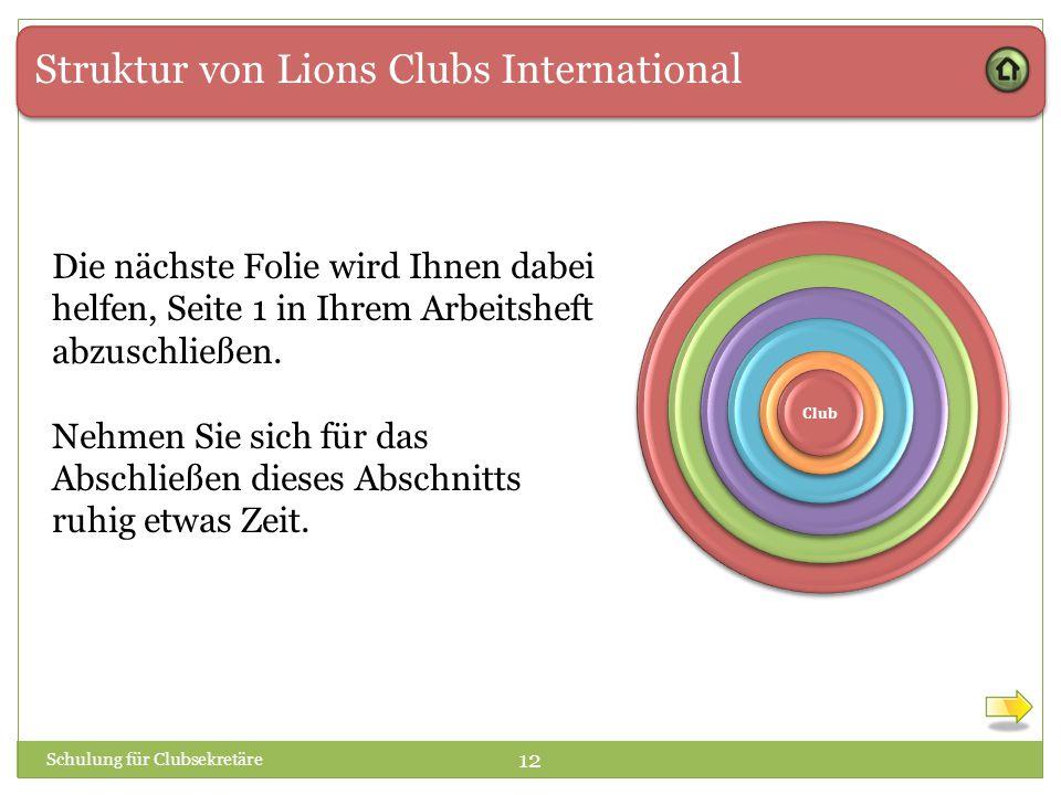 Struktur von Lions Clubs International 1 1 Club Schulung für Clubsekretäre 12 Die nächste Folie wird Ihnen dabei helfen, Seite 1 in Ihrem Arbeitsheft abzuschließen.