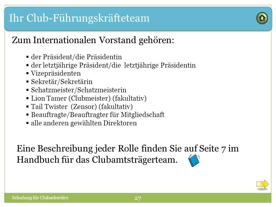 Ihr Club-Führungskräfteteam Zum Internationalen Vorstand gehören:  der Präsident/die Präsidentin  der letztjährige Präsident/die letztjährige Präsid