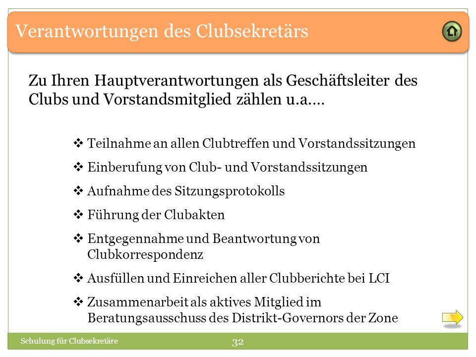Verantwortungen des Clubsekretärs Zu Ihren Hauptverantwortungen als Geschäftsleiter des Clubs und Vorstandsmitglied zählen u.a.…  Teilnahme an allen