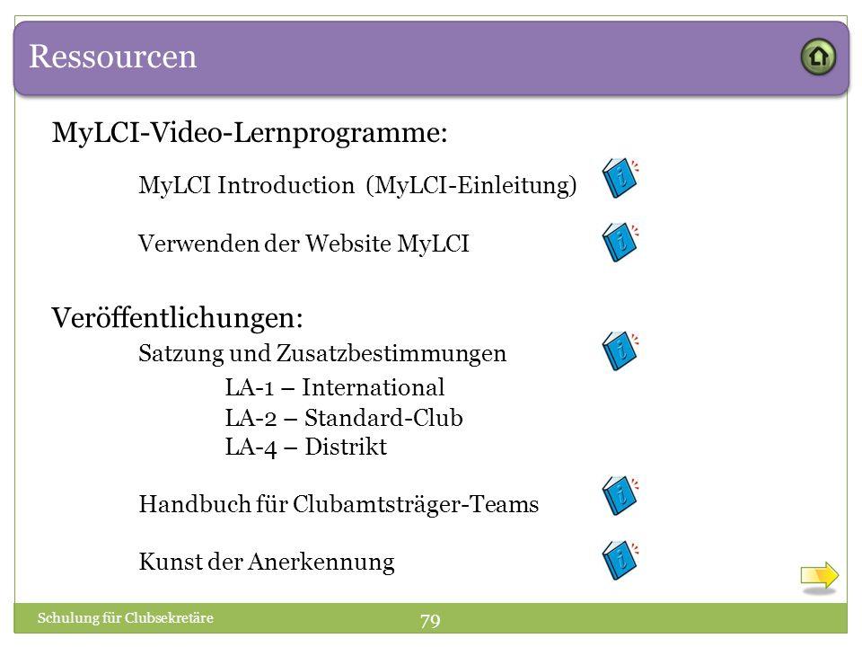 Ressourcen Schulung für Clubsekretäre 79 Veröffentlichungen: Satzung und Zusatzbestimmungen LA-1 – International LA-2 – Standard-Club LA-4 – Distrikt