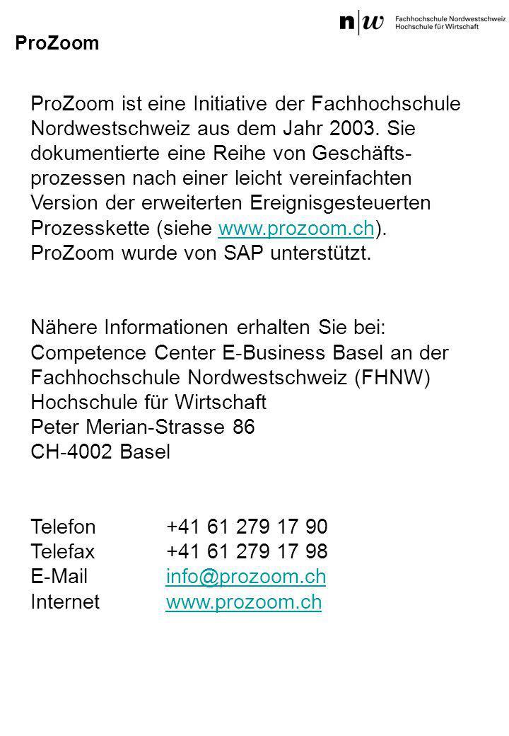 ProZoom ist eine Initiative der Fachhochschule Nordwestschweiz aus dem Jahr 2003. Sie dokumentierte eine Reihe von Geschäfts- prozessen nach einer lei