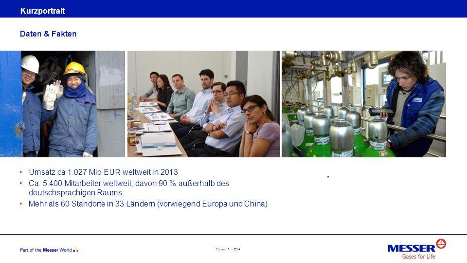 Messer 3 - 2014 Kurzportrait Umsatz ca 1.027 Mio EUR weltweit in 2013 Ca. 5.400 Mitarbeiter weltweit, davon 90 % außerhalb des deutschsprachigen Raums
