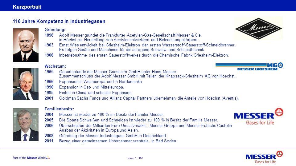 Messer 4 - 2014 Kurzportrait Gründung: 1898Adolf Messer gründet die Frankfurter Acetylen-Gas-Gesellschaft Messer & Cie. in Höchst zur Herstellung von