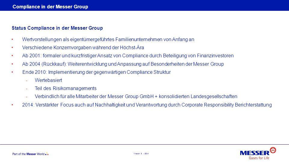 Messer 5 - 2014 Status Compliance in der Messer Group Wertvorstellungen als eigentümergeführtes Familienunternehmen von Anfang an Verschiedene Konzern