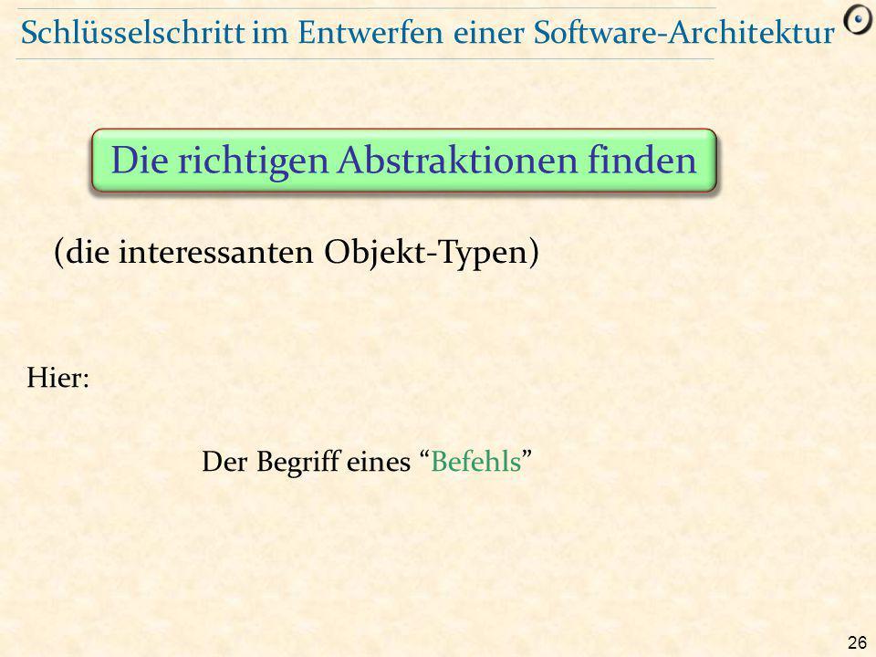 26 Schlüsselschritt im Entwerfen einer Software-Architektur Hier: Der Begriff eines Befehls Die richtigen Abstraktionen finden (die interessanten Objekt-Typen)