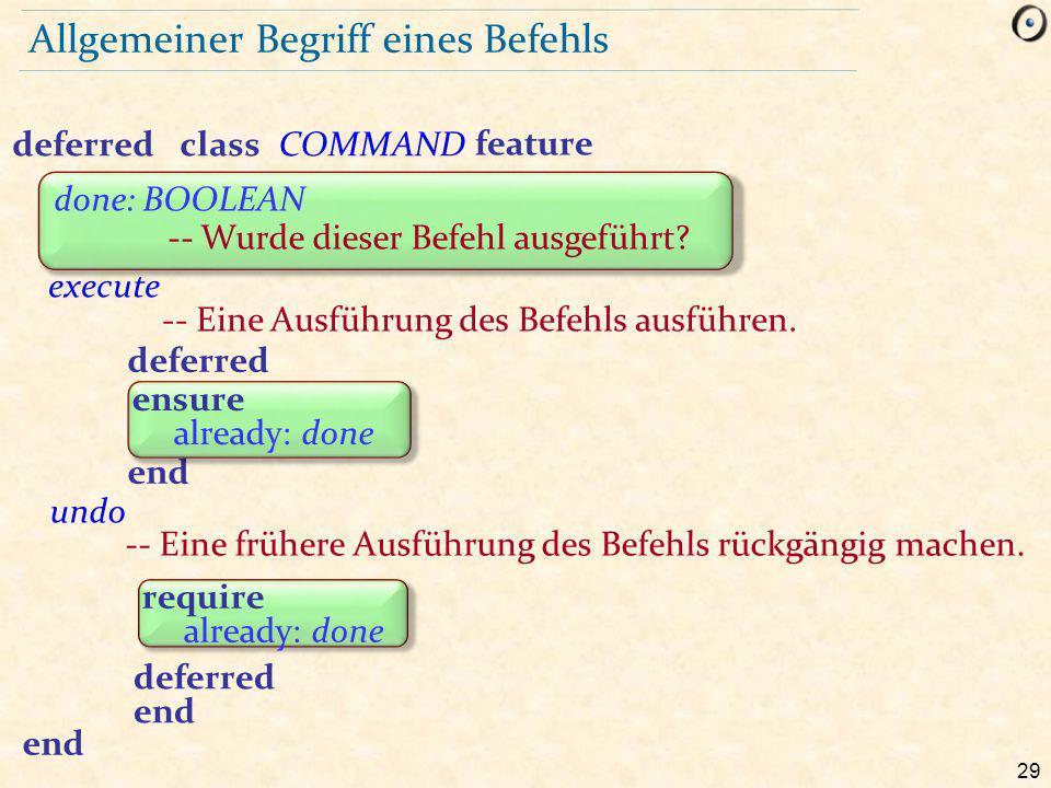 29 Allgemeiner Begriff eines Befehls deferredclassCOMMAND feature execute -- Eine Ausführung des Befehls ausführen.