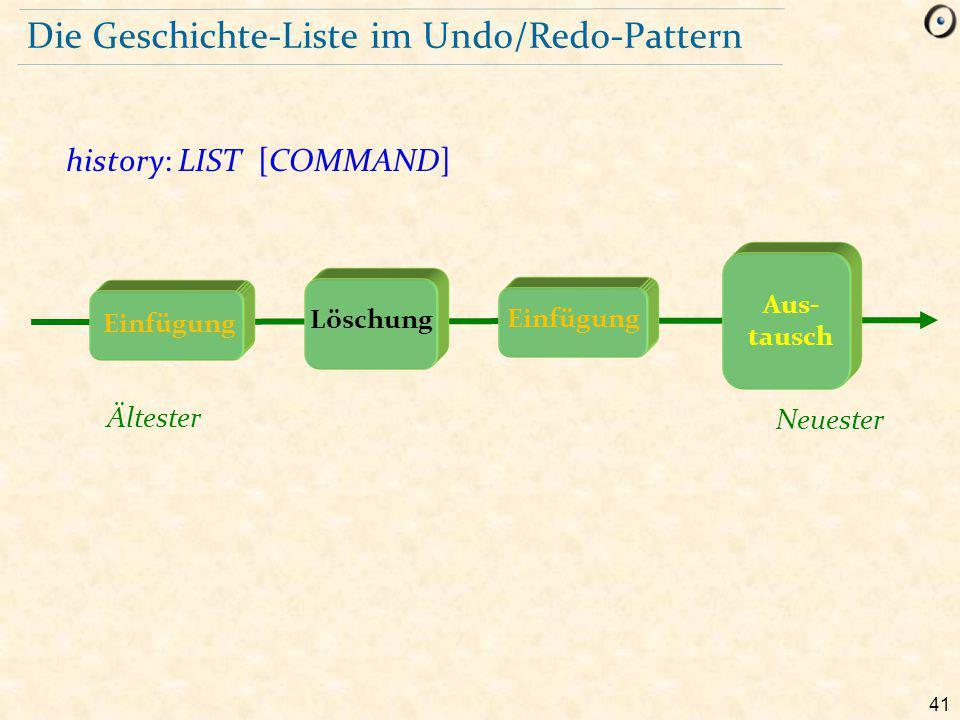 41 Die Geschichte-Liste im Undo/Redo-Pattern history: LIST [COMMAND] Ältester Neuester Löschung Aus- tausch Einfügung