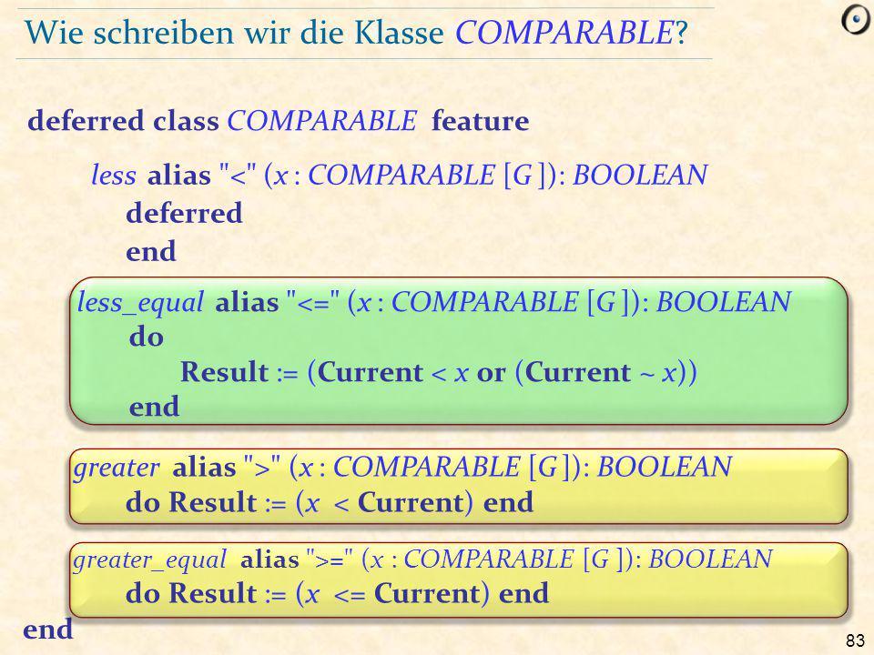 83 Wie schreiben wir die Klasse COMPARABLE.