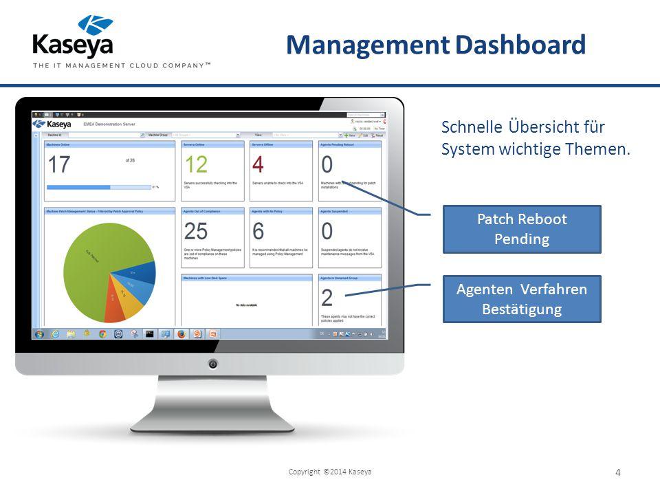 Management Dashboard Copyright ©2014 Kaseya 4 Schnelle Übersicht für System wichtige Themen.