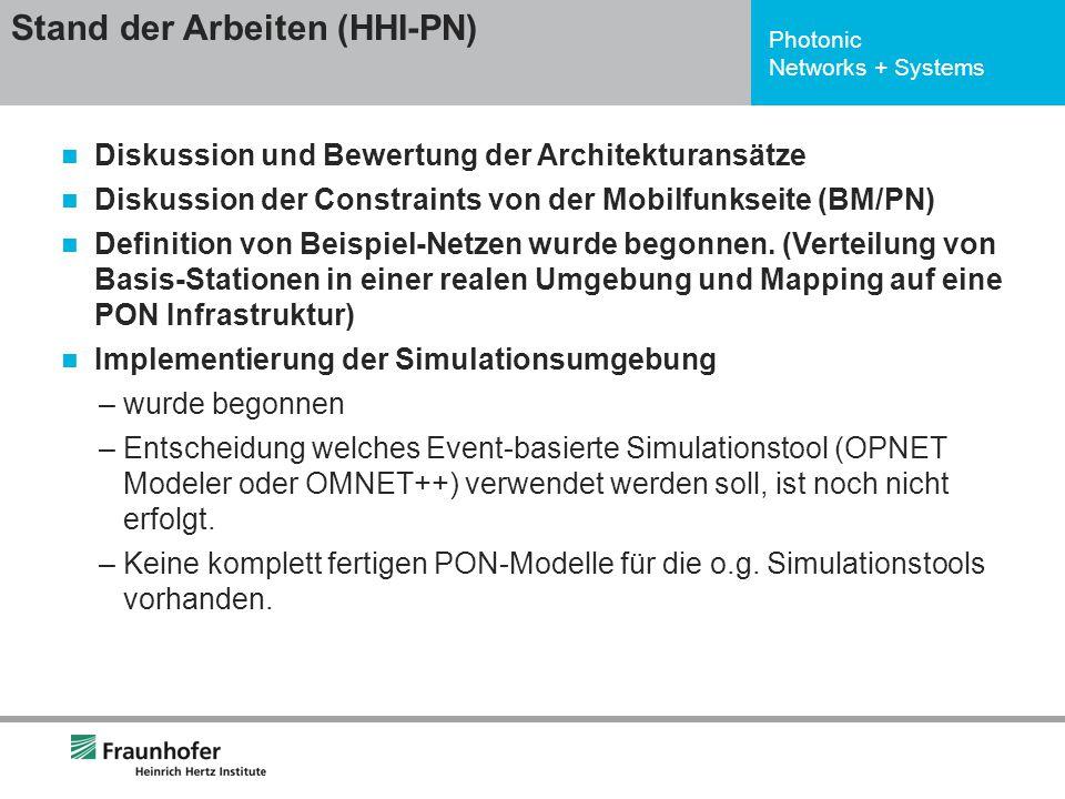 Photonic Networks + Systems Diskussion und Bewertung der Architekturansätze Diskussion der Constraints von der Mobilfunkseite (BM/PN) Definition von B