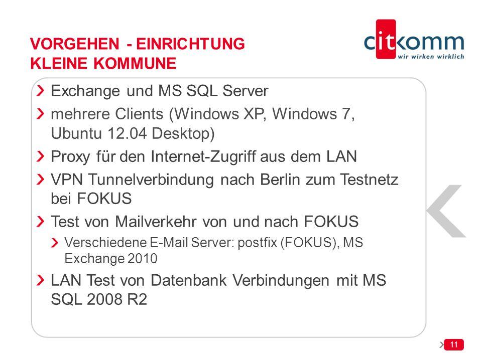 11 VORGEHEN - EINRICHTUNG KLEINE KOMMUNE Exchange und MS SQL Server mehrere Clients (Windows XP, Windows 7, Ubuntu 12.04 Desktop) Proxy für den Intern