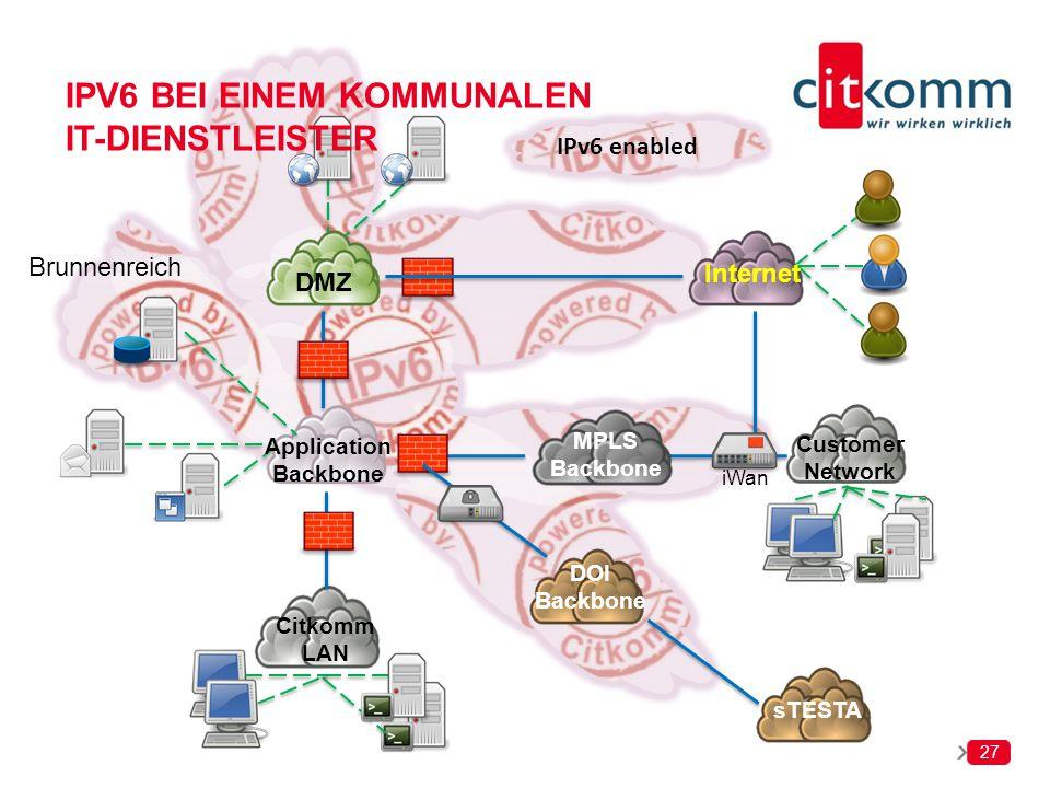 27 MPLS Backbone DMZ Internet Application Backbone Citkomm LAN iWan Customer Network Brunnenreich sTESTA DOI Backbone IPV6 BEI EINEM KOMMUNALEN IT-DIE