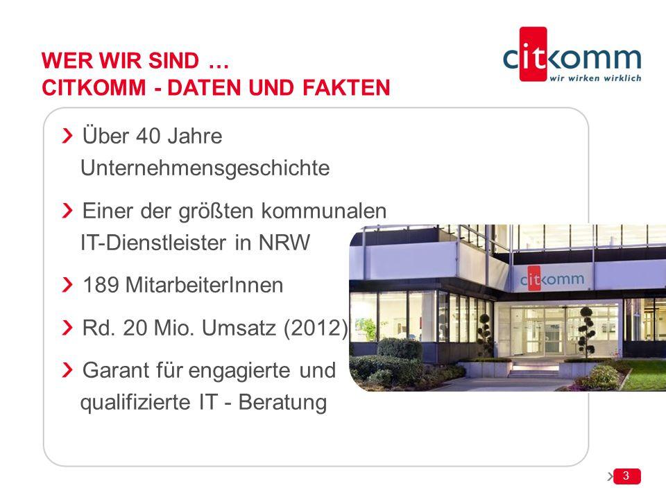 WER WIR SIND … CITKOMM - DATEN UND FAKTEN Über 40 Jahre Unternehmensgeschichte Einer der größten kommunalen IT-Dienstleister in NRW 189 MitarbeiterInn
