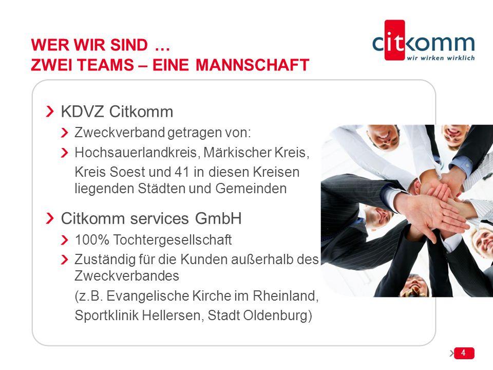 WER WIR SIND … ZWEI TEAMS – EINE MANNSCHAFT KDVZ Citkomm Zweckverband getragen von: Hochsauerlandkreis, Märkischer Kreis, Kreis Soest und 41 in diesen
