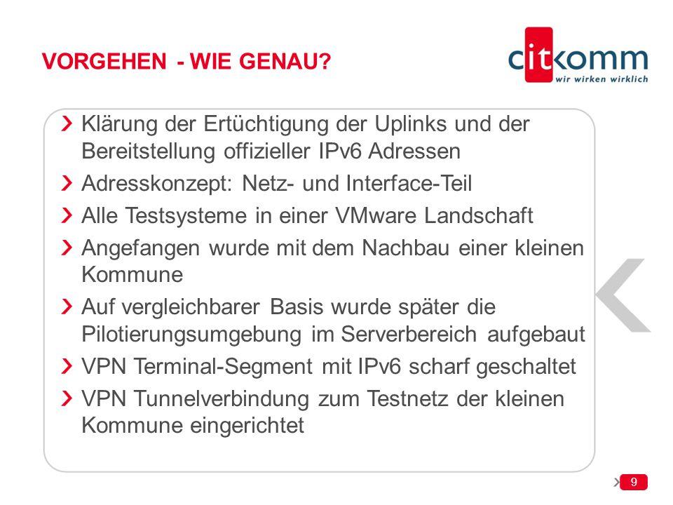9 VORGEHEN - WIE GENAU? Klärung der Ertüchtigung der Uplinks und der Bereitstellung offizieller IPv6 Adressen Adresskonzept: Netz- und Interface-Teil