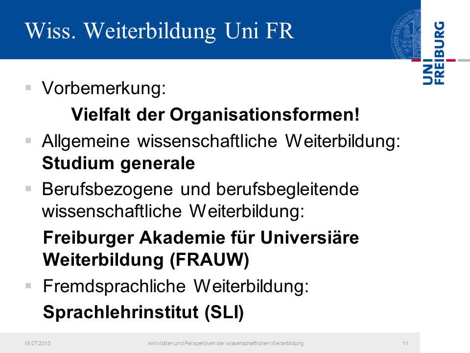 Wiss. Weiterbildung Uni FR  Vorbemerkung: Vielfalt der Organisationsformen!  Allgemeine wissenschaftliche Weiterbildung: Studium generale  Berufsbe