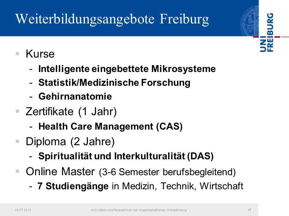 19.07.2013Aktivitäten und Perspektiven der wissenschaftlichen Weiterbildung17 Weiterbildungsangebote Freiburg  Kurse -Intelligente eingebettete Mikro