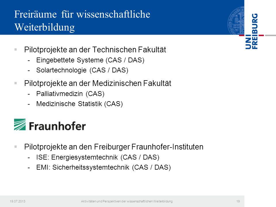 Freiräume für wissenschaftliche Weiterbildung  Pilotprojekte an der Technischen Fakultät -Eingebettete Systeme (CAS / DAS) -Solartechnologie (CAS / D