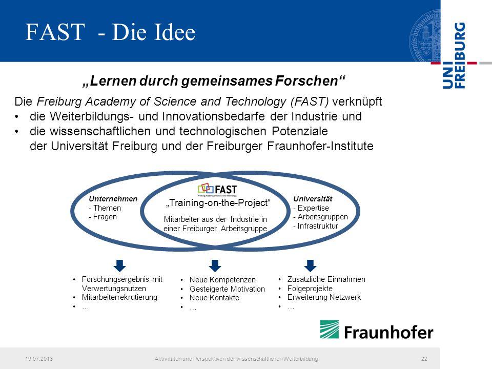 """FAST - Die Idee """"Lernen durch gemeinsames Forschen"""" Die Freiburg Academy of Science and Technology (FAST) verknüpft die Weiterbildungs- und Innovation"""