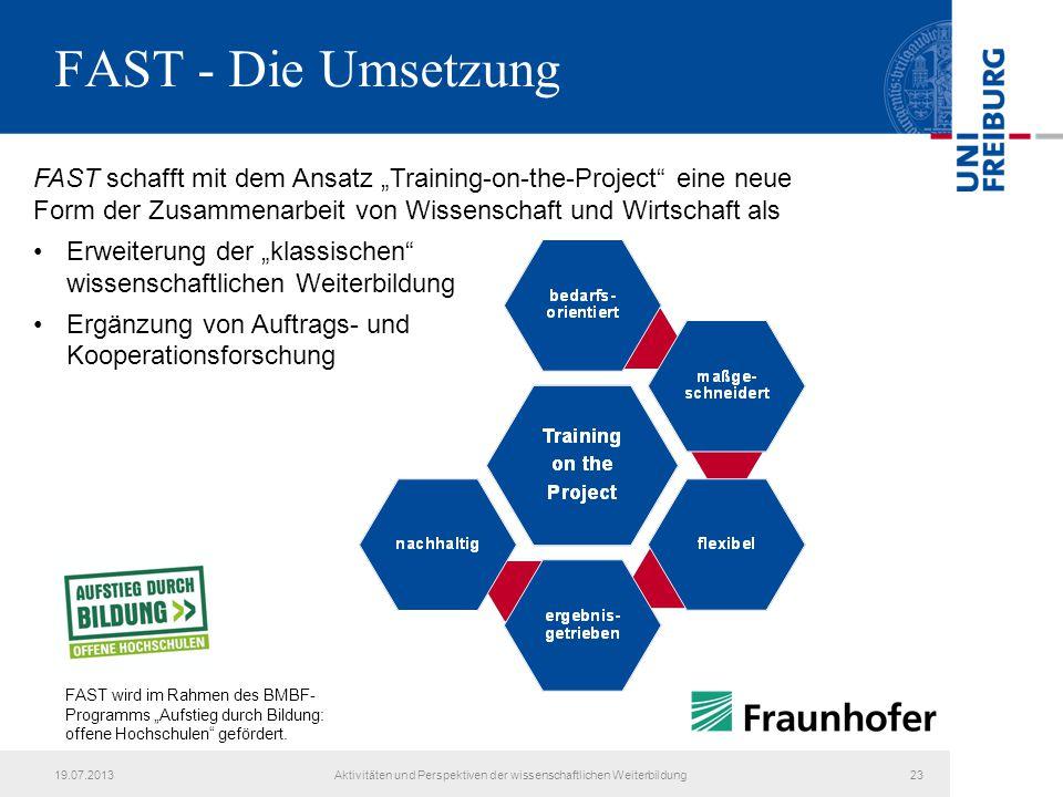 """FAST - Die Umsetzung FAST schafft mit dem Ansatz """"Training-on-the-Project"""" eine neue Form der Zusammenarbeit von Wissenschaft und Wirtschaft als Erwei"""