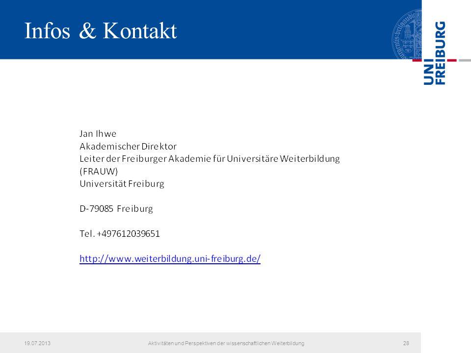 Infos & Kontakt 19.07.2013Aktivitäten und Perspektiven der wissenschaftlichen Weiterbildung28
